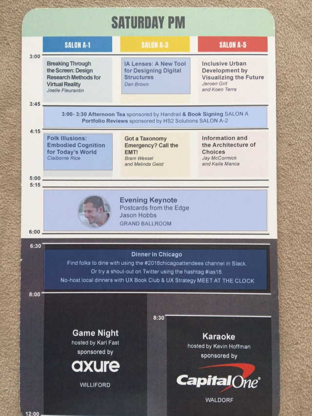 IA Summit Saturday PM Schedule highlighted