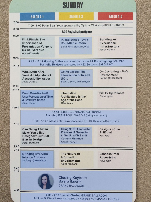 IA Summit Sunday Schedule highlighted