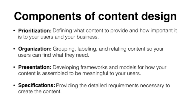 Components of content design