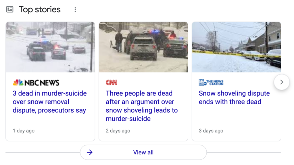 News stores about 3 dead in show shoveling dispute