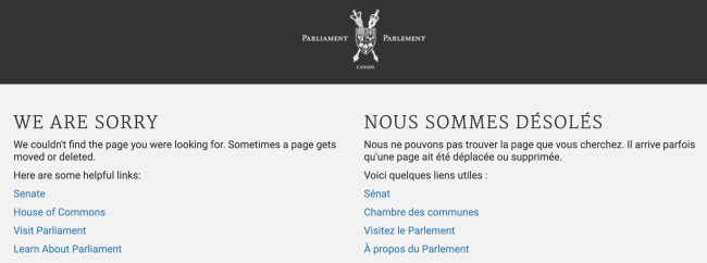 Canadian government 404 page says sorry